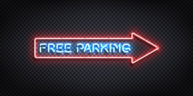 Letrero de neón realista del logotipo de flecha de estacionamiento gratuito