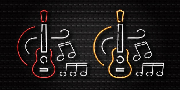 Letrero de neón realista del logotipo de la guitarra para la decoración de la plantilla en el fondo de la pared. concepto de concierto en vivo y música.