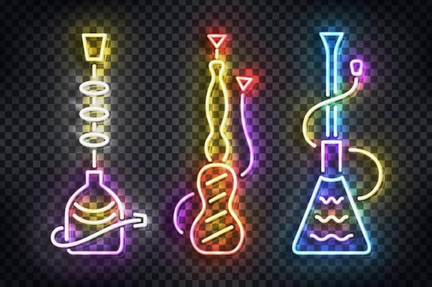 Letrero de neón realista del logotipo de hookah para decoración de plantillas y revestimiento en el fondo transparente.