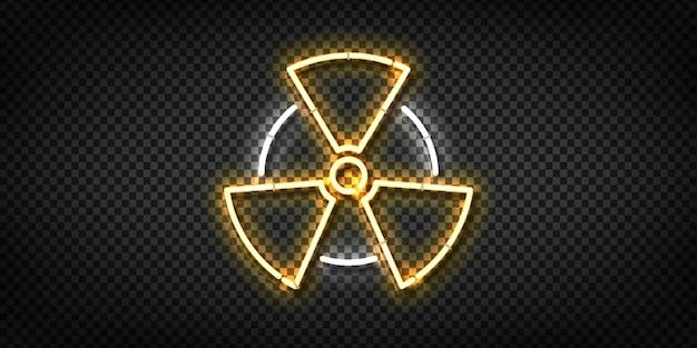 Letrero de neón realista del logotipo radiactivo