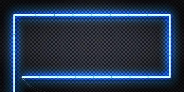 Letrero de neón realista de marco con colores azules para plantilla y diseño en el fondo transparente.