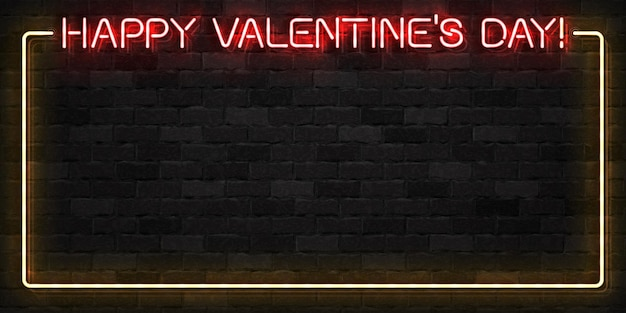 Letrero de neón realista del marco del día de san valentín