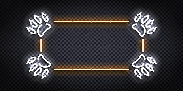 Letrero de neón realista del marco de la pata