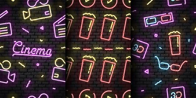 Letrero de neón realista de patrones sin fisuras del logotipo del cine para la decoración de la plantilla y la cubierta de la invitación en la pared sin costuras.