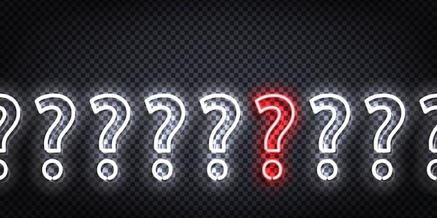 Letrero de neón realista del volante de preguntas