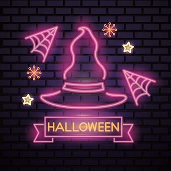 Letrero de neón rosa de halloween