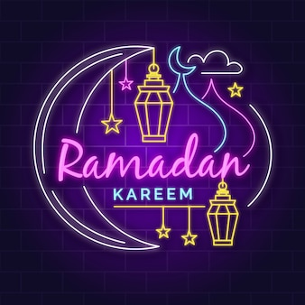 Letrero de neón con tema de ramadán