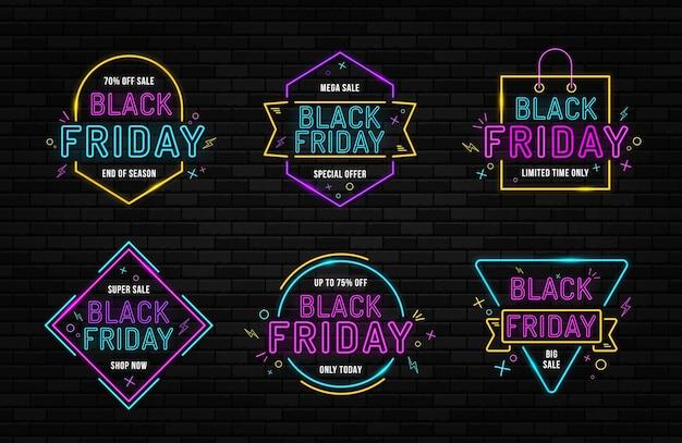 Letrero de neón de viernes negro en la pared de ladrillo señalización brillante letrero de viernes negro de neón