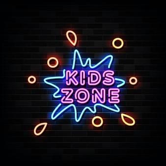 Letrero de neón de la zona de niños. plantilla de diseño estilo neón