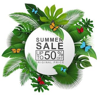 Letrero redondo con hojas tropicales y texto de venta de verano.