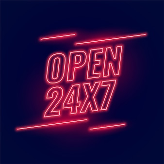 Letrero rojo neón para horario abierto 24/7.