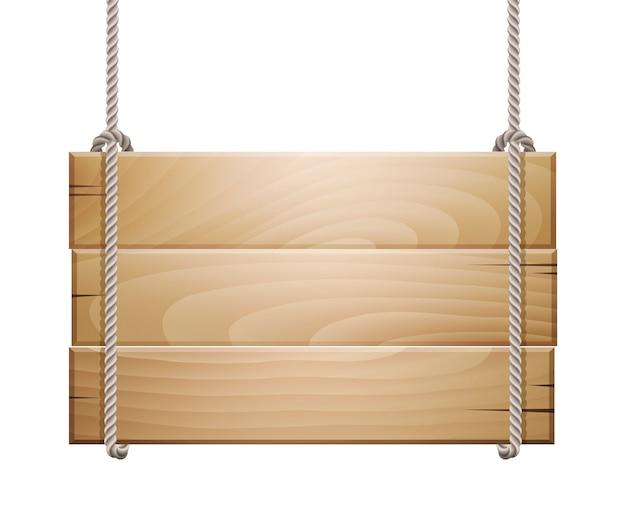 Letrero de tablero de madera colgando de una soga