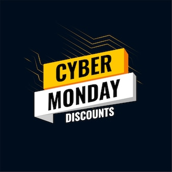 Letrero tecnológico de ofertas de cyber monday