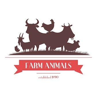 Letrero de tienda de granja o etiqueta de diseño de dos colores con animales de ganado y gallinas siluetas ilustración vectorial abstracta