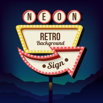 Letrero vintage con luces. señal de carretera. señal de carretera roja y amarilla de los años 50. cartelera retro con lamparas