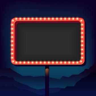 Letrero vintage con luces. señal de carretera. señal de tráfico de los años 50.