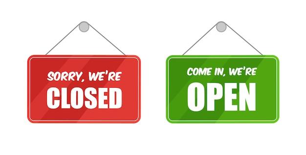Letreros abiertos y cerrados para la puerta aislada en la vista frontal de la plantilla de fondo blanco