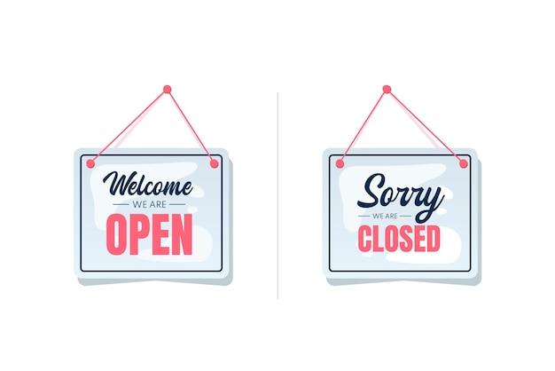Letreros de apertura y cierre