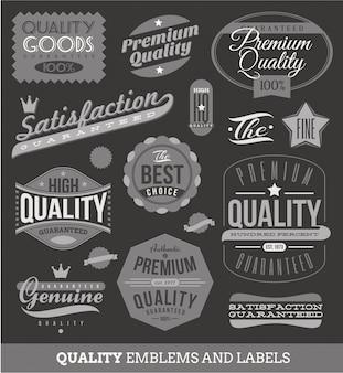 Letreros, emblemas y etiquetas de calidad y garantizados