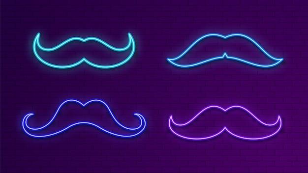 Letreros luminosos de neón. bigote azul claro.