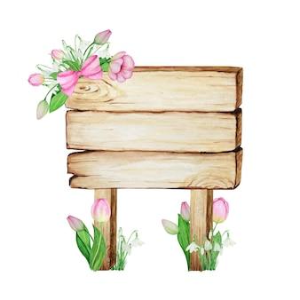 Letreros de madera de acuarela, en blanco vacío aislado con decoración de flores de primavera.
