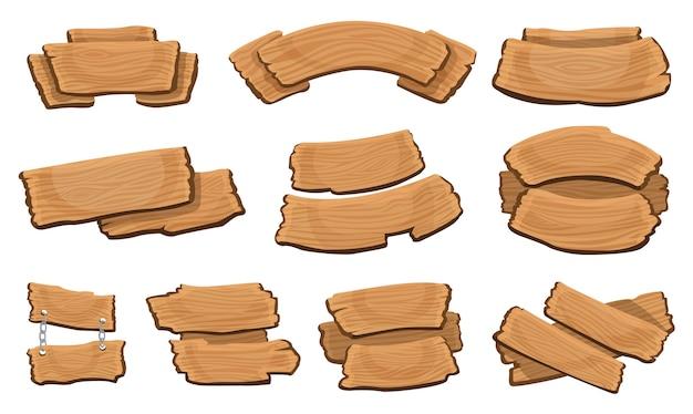 Letreros de madera. colección de tablones de madera de dibujos animados.