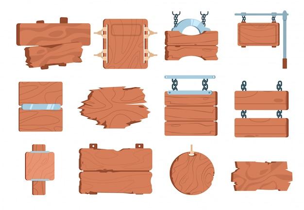 Letreros de madera de dibujos animados. firmar tablero tablón de madera juego banner vintage marco elemento elemento indicador puntero.