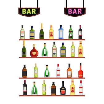 Letreros de neón bar y estanterías con botellas de alcohol