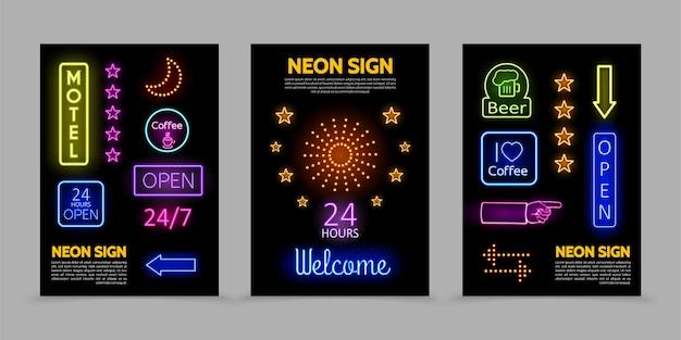 Letreros de neón carteles promocionales con marcos iluminados inscripciones coloridas estrellas brillantes destellos