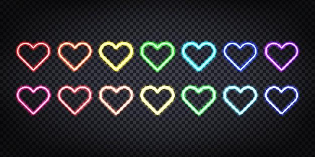 Letreros de neón de fondo de corazones de colores