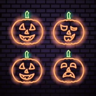 Letreros de neón naranja de calabaza de halloween