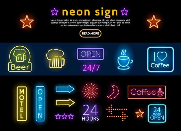 Letreros de neón publicitarios de colores brillantes con vaso de cerveza, taza de café, sol, luna, estrellas, flechas