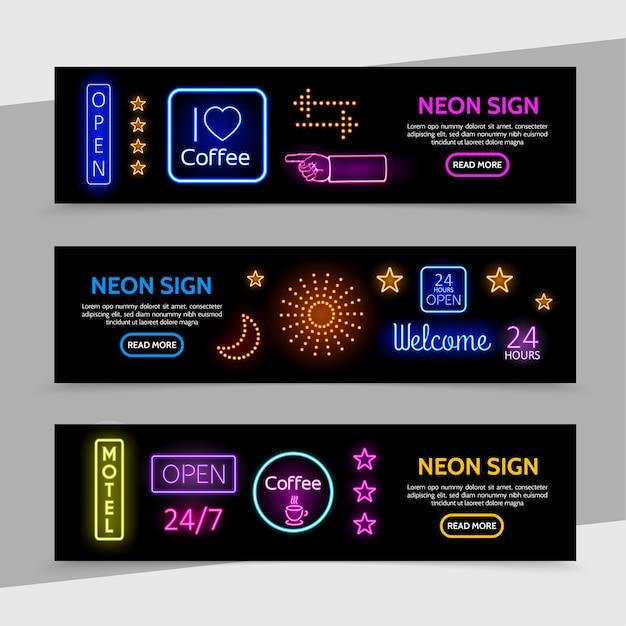 Letreros de neón publicitarios, pancartas horizontales con marcos brillantes, inscripciones coloridas, flechas, estrellas de luz