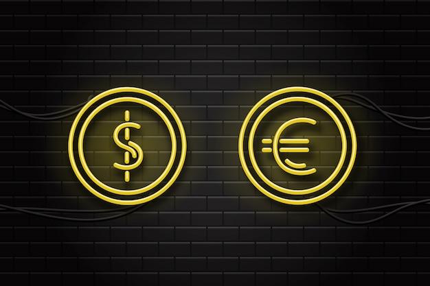 Letreros de neón realistas de moneda dólar y euro en el fondo de la pared para decoración y revestimiento.