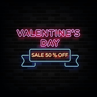 Letreros de neón de venta de día de san valentín. plantilla de diseño estilo neón