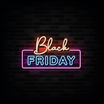 Letreros de neón del viernes negro. plantilla de diseño estilo neón