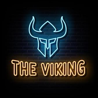 Letreros de neón vikingos vector plantilla de diseño letrero de neón