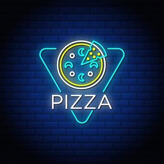 Letreros de texto de neón de pizza con pared de ladrillo abstracto azul.