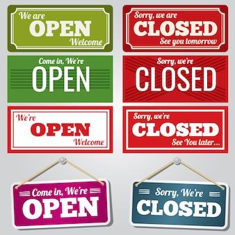 Letreros de tiendas abiertas y cerradas