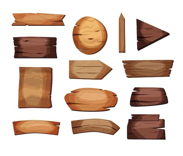 Letreros vacíos o tablones de madera de diferentes colores y texturas. conjunto de banners antiguos, retro. ilustración.