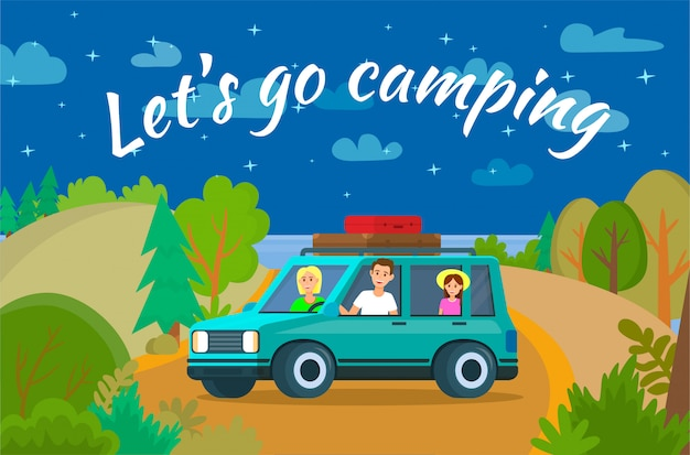 Lets go camping banner horizontal
