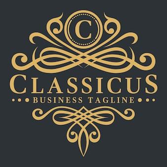 Lette c - plantilla de logotipo lujoso clásico
