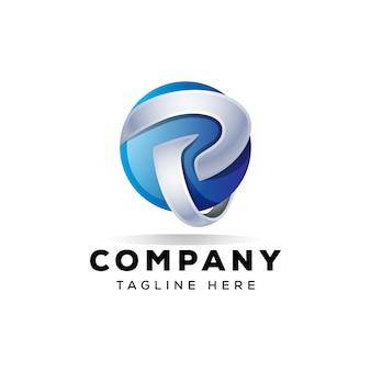 Letted p diseño de logotipo 3d