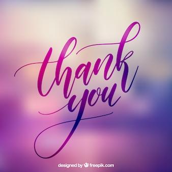Lettering de gracias con fondo desenfocado
