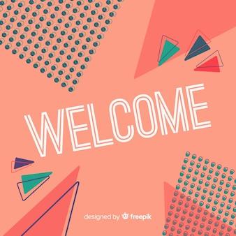Lettering de welcome en estilo memphis