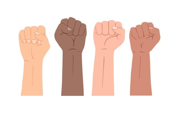 Se levanta el conjunto de símbolos de puño. manos de diferentes razas.