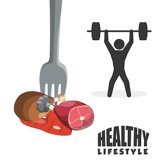 Levantamiento de pesas diseño de estilo de vida saludable