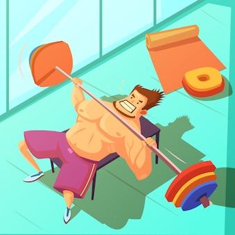 Levantamiento de pesas en un fondo de gimnasio con barra de pesas y hombre