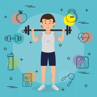 Levantamiento de pesas hombre con elementos deportivos