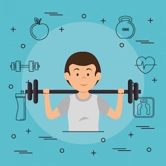 Levantamiento de pesas de hombre con iconos de deportes